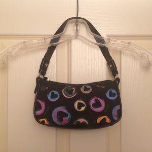 Black XOXO rainbow hearts shoulder-carry purse
